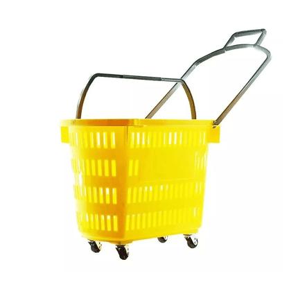 Cesta Plástica Com Rodas S1.200 Amarelo 30L Supercron