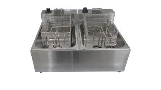 Fritadeira Elétrica Industrial Inox 2 Cubas 10 Litros Óleo