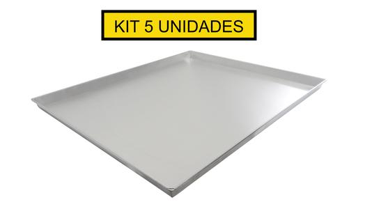 Kit 5 Forma Assadeiras Alumínio Lisa Pão Doce 58x70x3,5cm
