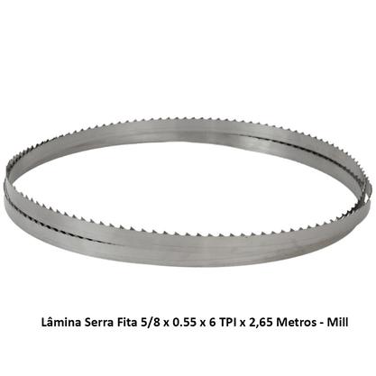 Lâmina Serra Fita 5/8 x 0.55 x 6 TPI x 2,65 Metros - Mill