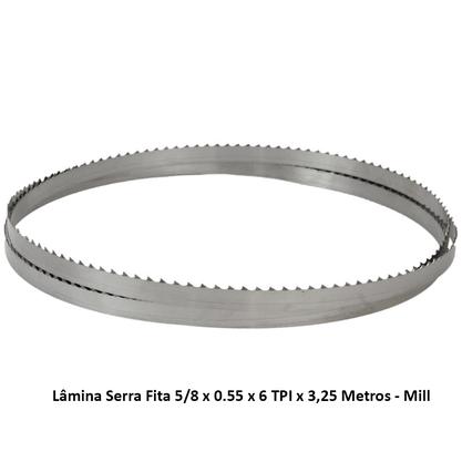 Lâmina Serra Fita 5/8 x 0.55 x 6 TPI x 3,25 Metros - Mill