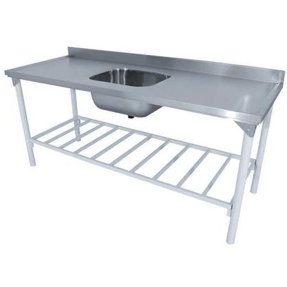 Pia Tampo em Aço Inox Industrial 1,40x70 Epoxi Branca Innal