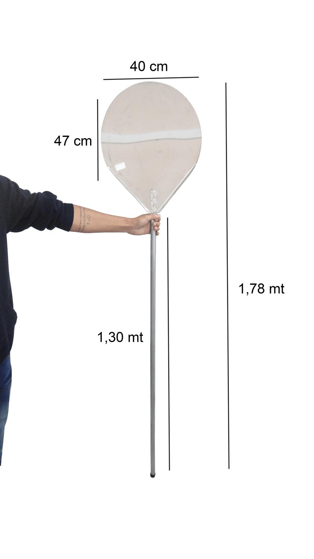 Pá De Pizza Boa Em Alumínio 40cm Cabo Longo 1,30 metros