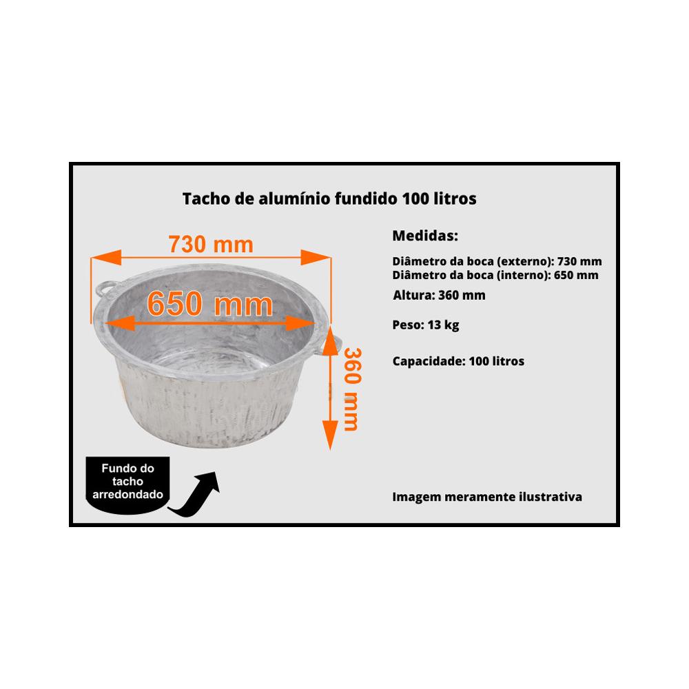 Tacho de Alumínio Fundido 95 Litros Nº 110 Fundo Oval Elitec