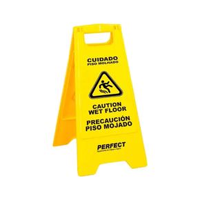 Placa Sinalizadora Cuidado Piso Molhado Amarelo Perfect